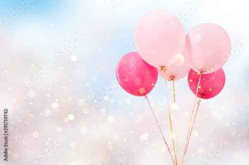 Cuadros en Lienzo  Bunch of colorful balloons on white background