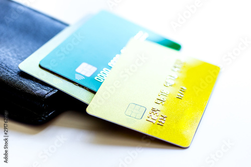 Valokuva Credit cards with wallet close up - online shopping