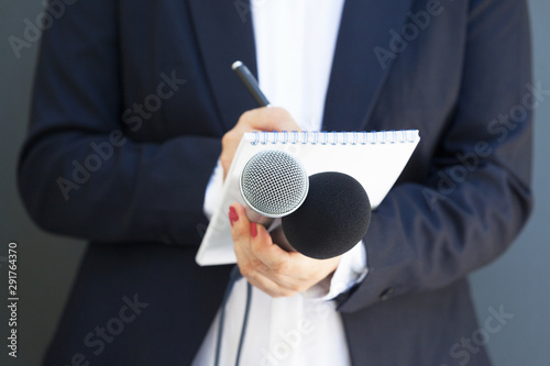 Female journalist at news conference or media event, writing notes, holding micr Canvas Print