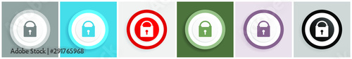 Padlock icon set, vector illustrations in 6 options for web design and mobile ap Poster Mural XXL