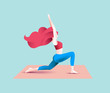 Pretty redhead woman do yoga. Warrior asana. Vector illustration.