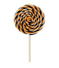 Black And Orange Halloween Lollipop Illustration