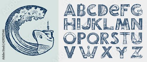 Fotografie, Tablou Decorative marine alphabet in ancient style