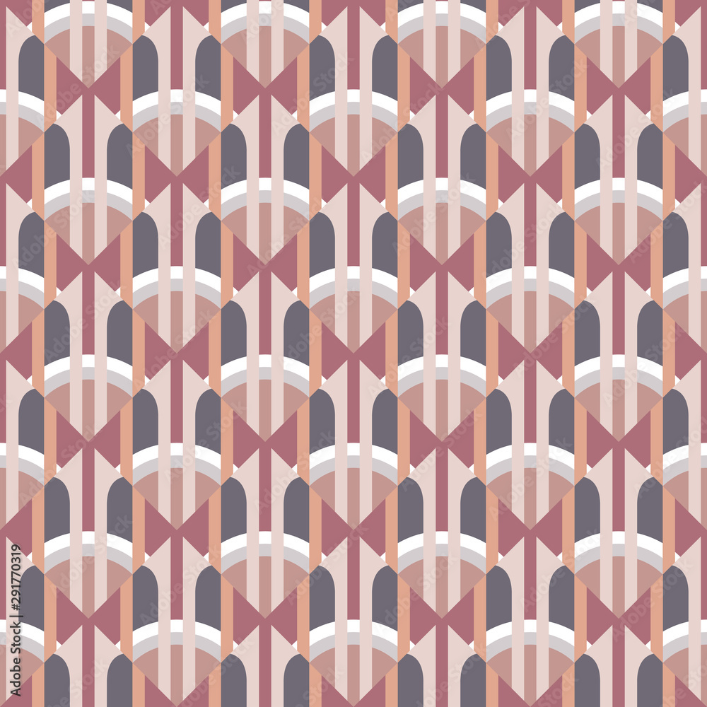 Abstract geometric background in art nouveau retro style. Seamless decorative pattern. Ornament mosaic wallpaper. Vector illustration.