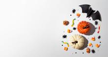 Pumpkins With Halloween Decora...