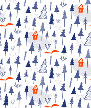 Winter Forest Seamless Pattern. White Snow Background With Blue Trees And Spruces, Tiny House And Cute Orange Fox. Vector Texture For Gift Wrapping Paper, Christmas Holidays Decoration.
