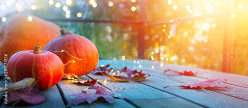 Fototapeta autumn pumpkin background, thanksgiving holiday party decoration, obraz