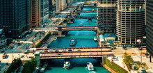 Chicago River With Boats And T...