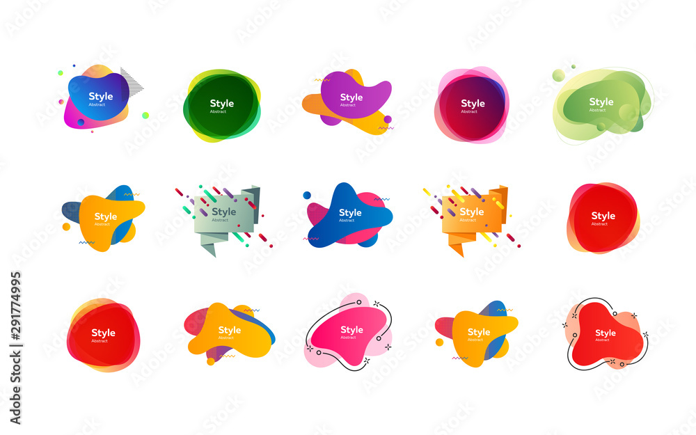 Fototapeta Futuristic colorful abstract elements set. Gradient polygon and blob shapes with sample text. Trendy minimal templates for presentations, banners, posters and flyers. Vector illustration
