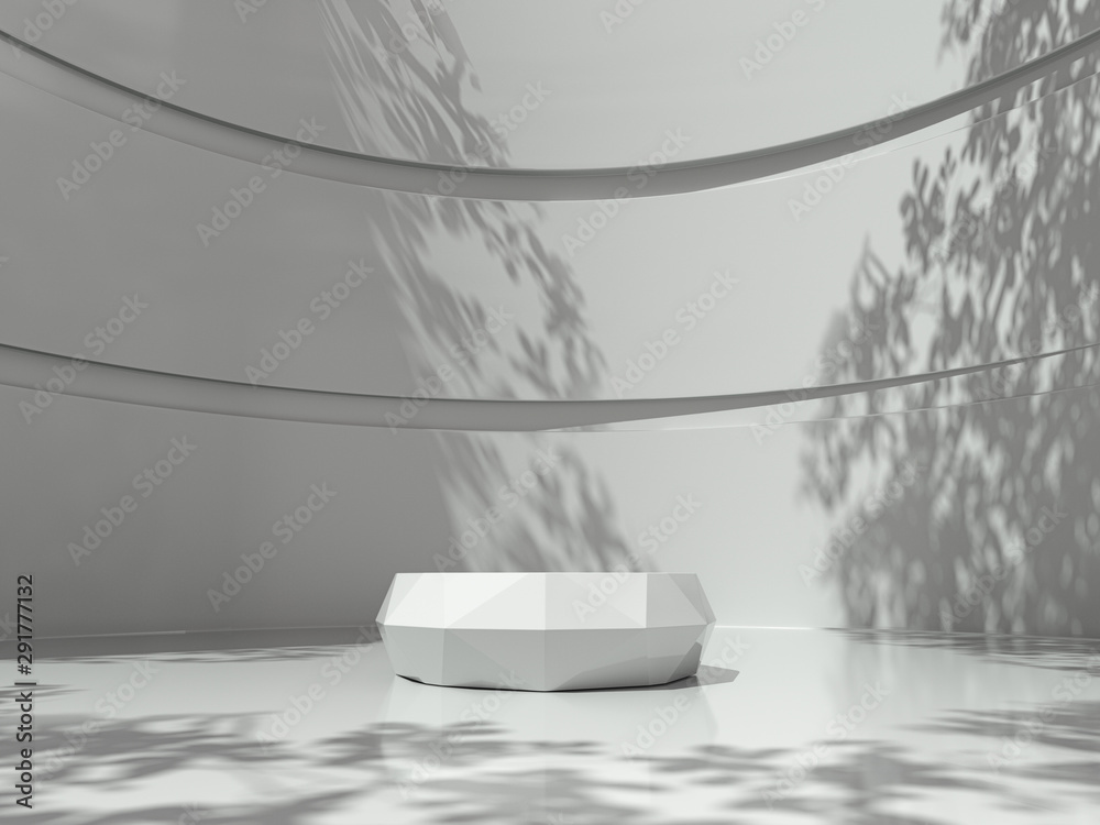 Fototapeta Pedestal for display,Platform for design,Blank product stand in Empty room with Tree shadow on the wall .3D rendering.