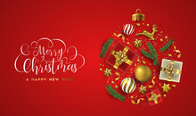 Merry Christmas Red Card 3d Gold Xmas Decoration