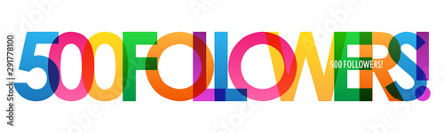 Tela  500 FOLLOWERS! bright and colorful typography banner
