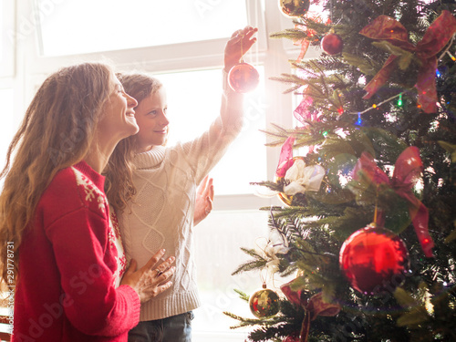 Mom and daughter decorate the Christmas tree Wallpaper Mural