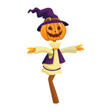 Scarecrow Pumpkin With Witch Hat