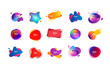 Set of creative multi-colored bubble-shaped objects. Dynamical colored forms and line. Gradient banners with flowing liquid shapes. Template for design of logo, flyer or presentation. Vector