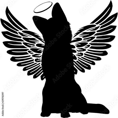 Fotografía  Pet Memorial, Angel Wings German Shepherd Dog  Silhouette Vector