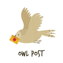 Cute Flying Owl With A Letter....