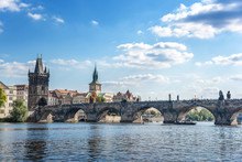 View Of The City Of Prague And The Charles Bridge And Vltava River.