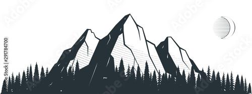 Montage in der Fensternische Grau Verkehrs Mountain landscape illustration
