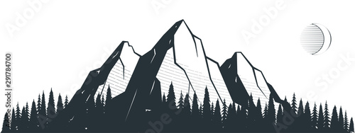 Gris traffic Mountain landscape illustration