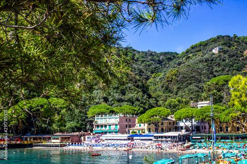beach known as paraggi near portofino in genoa on a blue sky and sea background