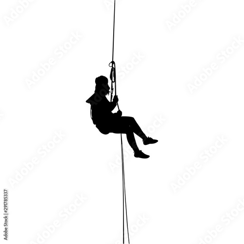 Abseiling Silhouette Vector Canvas Print