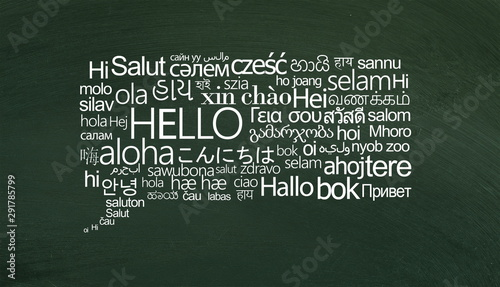 Obraz na plátne Speech bubble of white hello words on different languages