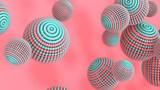 Bright, abstract, vintage background with flying spheres - 3D, render. Digital illustration of bubbles for wallpapers, banners, design and presentations with copy space.