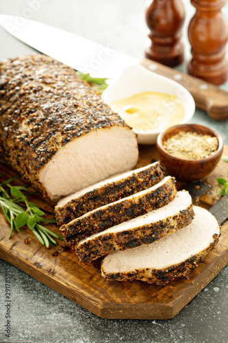 Stampa su Tela Roasted pork loin with a spicy rub and mustard sauce