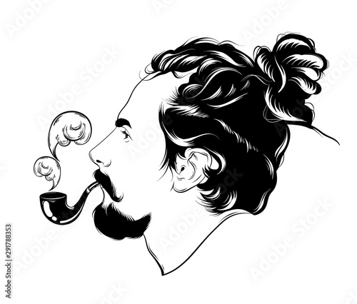 Photo  Vector hand drawn illustration of man with dreadlocks, smoking pipe and beard isolated