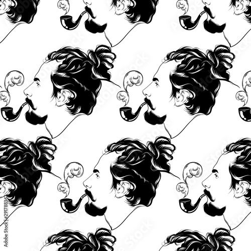 Vector pattern with hand drawn illustration of man with dreadlocks, smoking pipe and beard isolated Wallpaper Mural