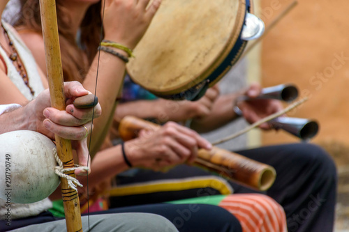 Brazilian musical instrument called berimbau and others usually used during capoeira brought from africa and modified by the slaves - 291790749