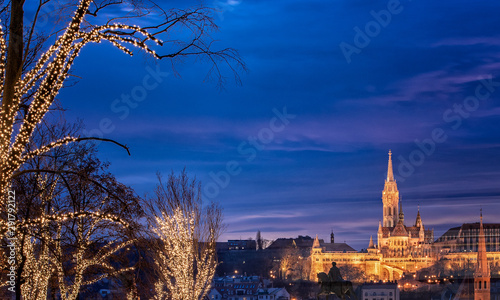Poster de jardin Paris View on the famous Fishermen's Bastion in Budapest in winter with christmas lights