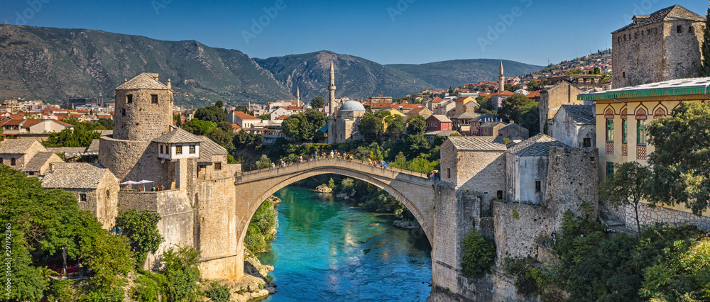 Fototapeta Aerial view on the medieval bridge of Mostar