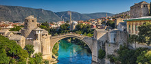 Aerial View On The Medieval Bridge Of Mostar