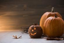 Jack O Lantern - Autumn Halloween Holiday Concept Background