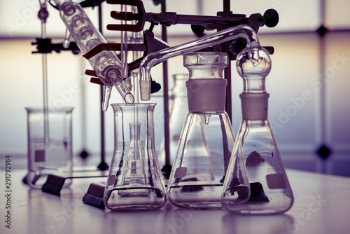 Glass instruments in the laboratory of chemical synthesis Canvas Print