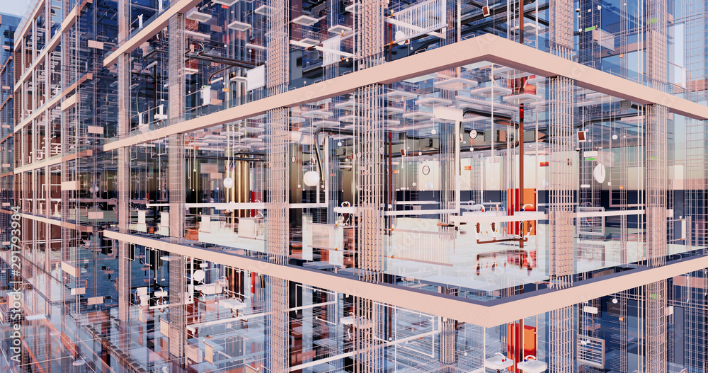 Fototapeta Visualization of the concept of BIM model utilities of the building