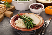 Thanksgiving Plate With Turkey, Sides And Cranberry Sauce