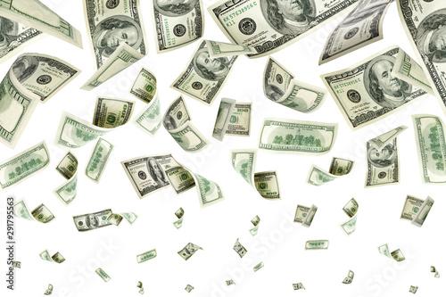 Money stack. Hundred dollars of America. Falling money isolated, Poster Mural XXL