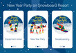 Set of mobile app pages about New Year holiday and party at snowboard resort
