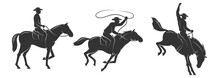 Cowboy Rides A Horse And Throws A Lasso. Cowboy On The Rodeo. Vector Silhouette Illustration.