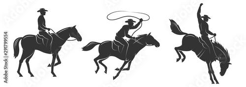 Cuadros en Lienzo  Cowboy rides a horse and throws a lasso