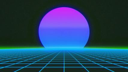 Futuristic retro landscape of the 1980. Futuristic 3d illustration