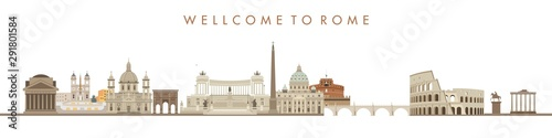 Canvas Print Illustration of an city background, rome