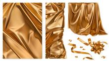 Golden Cloth. Curtain, Drapery, Ribbon, Bow. 3d Realistic Vector Set