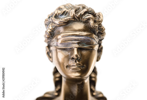 Close up statue of justice isolated on white background