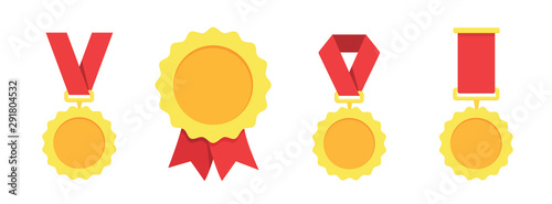 Obraz Gold, silver, bronze medal. 1st, 2nd and 3rd places. Trophy with red ribbon. Flat style - stock vector. - fototapety do salonu