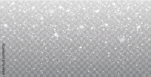 Seamless realistic falling snow or snowflakes. Isolated on transparent background - stock vector. - 291804726