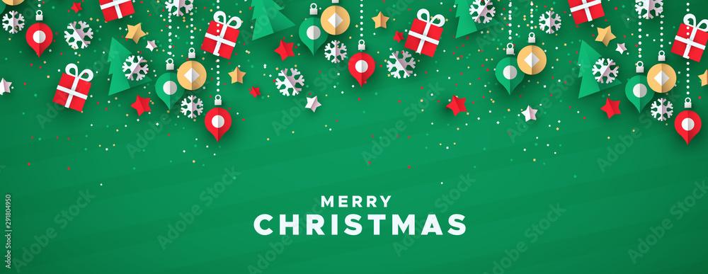 Fototapeta Merry christmas banner of paper art holiday icons